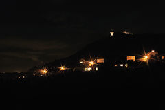 Dark silhouettes night photo of hill Hnevin Stock Images