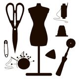 Dark silhouettes of sewing set Stock Image