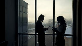 Dark silhouettes of two women against window inside office. To discuss topic. tall woman with straight hair holding folder with paper, pen, listening to stock footage