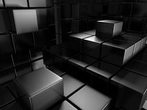 Dark Silver Metallic Cubes Background. 3d Render Illustration Royalty Free Stock Photography