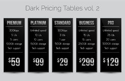 Dark & silver pricing tables - set of five price banner templates suitable for web and e-shops Royalty Free Stock Image