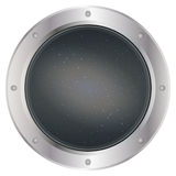 A dark silver spaceship window porthole with space, dark grey sky, and stars vector. Vector illustration Stock Photography
