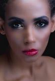 Dark skin or mulatto beauty portrait of woman royalty free stock photo
