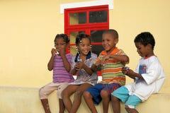 Dark-skinned children on Boavista, Cape Verde Royalty Free Stock Image