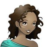 Dark-skinned girl. Illustration of a teenage girl Stock Photo