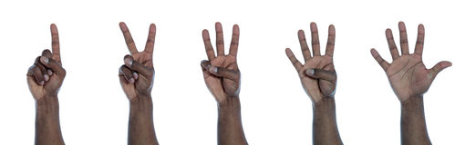 Dark-skinned hand counting Stock Photos