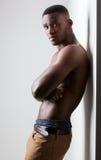 Dark Skinned Male Fitness. Men's Fitness, dark skinned model on white background Stock Photography