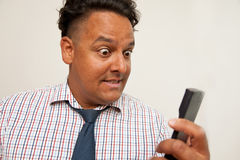 Man with shirt and tie calculator Royalty Free Stock Photo