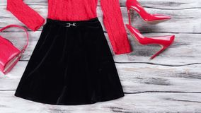 Dark skirt and red top. stock footage