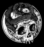 Dark skull with snake design. Skull head with snake, suitable images for print poster or t-shirt Stock Photos