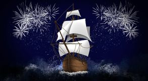 A ship with scarlet sails against the background of a night sky of salute, fireworks. Dark sky background, stars, celebratory salute, ship with sails. holiday Stock Images