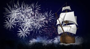 A ship with scarlet sails against the background of a night sky of salute, fireworks. Dark sky background, stars, celebratory salute, ship with sails. holiday Royalty Free Stock Photo