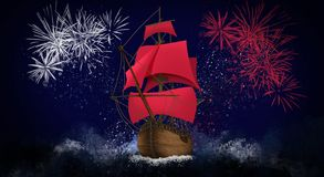 A ship with scarlet sails against the background of a night sky of salute, fireworks stock illustration