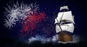 A ship with scarlet sails against the background of a night sky of salute, fireworks. Dark sky background, stars, celebratory salute, ship with sails. holiday Royalty Free Stock Photography
