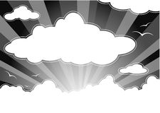 Dark sky with clouds. And rays. Additional vector format in EPS (v.8 Royalty Free Stock Image