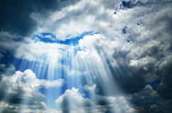 Dark sky with clouds and light. Background beautiful blue clouds cloudscape stock photography