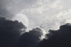 Dark sky and full moon Stock Image