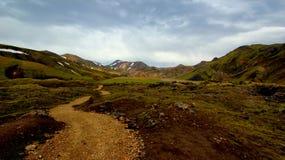 Dark sky mountain landcape in Landmannalaugar, Iceland stock photography
