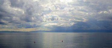 Dark sky over Adriatic sea Stock Photo