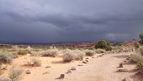 Dark sky over Arches National Park, Utah Stock Images