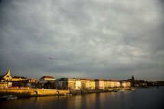 Dark sky over Prague Stock Images