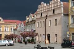 Dark sky over Square of peace in Slavonice Stock Image