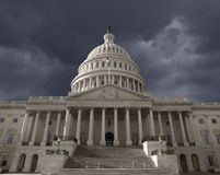 Dark Sky over the United States Capitol. Building in Washington DC Stock Photo