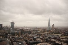 Dark sky and rain over wet London panorama view.  Royalty Free Stock Image