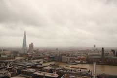 Dark sky and rain over wet London panorama view Stock Photography