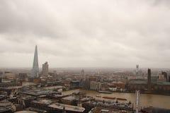 Dark sky and rain over wet London panorama view Stock Photography