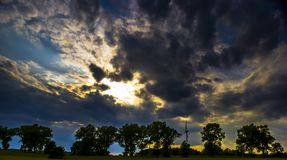 Dark sky with storm clouds during sunset Royalty Free Stock Photo
