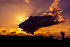 Dark sky with storm clouds during sunset Royalty Free Stock Photography