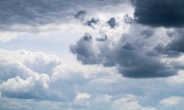 Dark sky with stormy clouds, natural background Stock Photos
