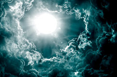 Dark sky with sun Royalty Free Stock Photo