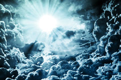 Dark sky with sun Royalty Free Stock Photos
