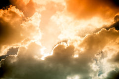 Dark sky with sun burst ray with cloudy Royalty Free Stock Image