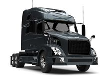 Dark slate gray modern semi trailer truck - closeup shot vector illustration