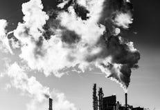 Dark smoke from the chimney Stock Image