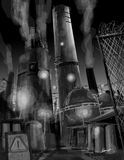 Polluted dark smoky Industrial factory illustratio Stock Photography