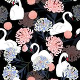 Dark Soft and gentle oreintal blooming flowers with hand drawin. G white swan bird in seamless pattern ,vector for fashion fabric and all prints on black Stock Illustration