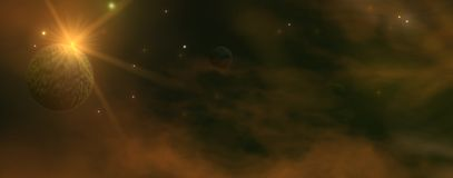 Dark space panorama Stock Image