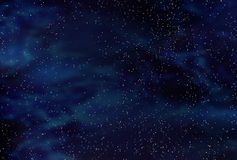 Dark space starfield. Bright star field against deep blue and black space royalty free illustration