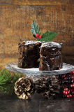 Dark spicy rich Christmas fruit cake Stock Photography