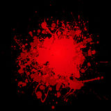 Dark splat splat. Abstract blood red ink splat with black background and copyspace Stock Photo