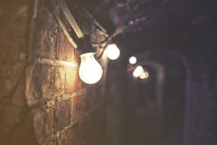 Dark spooky tunnel with power lines, noise Royalty Free Stock Images