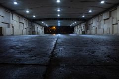 Dark spooky underpass at night, low angle.  stock image