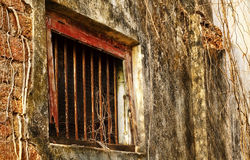 Dark and spooky windows. The half opened window with dark grungy on an abadoned desolated house on a street side of Jew Street,Kochi,Kerala Stock Images
