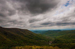 Dark spring storm clouds over the Appalachian Mountains, in Shenandoah National Park Royalty Free Stock Image