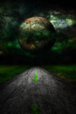 Dark star over rural road landscape Stock Image