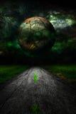 Dark star over rural road landscape stock illustration
